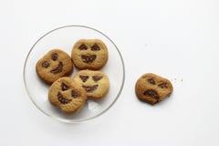 Печенья одно хеллоуина их с укусом стоковая фотография rf