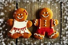 Печенья пар пряника рождества домодельные иллюстрация вектора