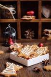 Печенья пряника в коробке Стоковые Фото
