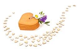 Печенья пряника в форме сердца Стоковое Фото
