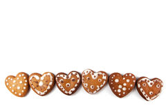 Печенья пряника в форме сердц Стоковое Изображение