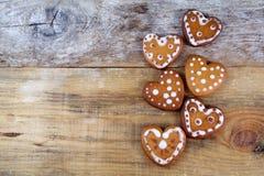 Печенья пряника в форме сердц Стоковая Фотография RF