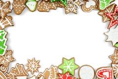Печенья пряника на белой предпосылке Снежинка Стоковое Изображение