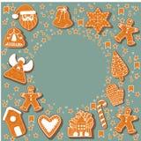 Печенья пряника рождества делая прямоугольную рамку иллюстрация Счастливый плакат зимних отдыхов Новый Год Рождество иллюстрация вектора