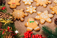 Печенья пряника рождества домодельные Стоковые Изображения