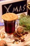 Печенья пряника, специи и обдумыванное вино Стоковое Изображение