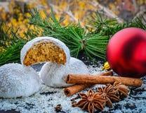 Печенья пряника с хлопьями замороженности и кокоса сахара Стоковое фото RF