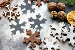 Печенья рождества в форме хлопьев, специй Питание Справочная информация Стоковое Изображение