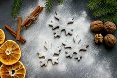 Печенья рождества в форме хлопьев, украшенных с высушенными апельсином и специями Питание Справочная информация Стоковое Изображение