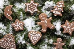 Печенья рождества на снеге покрыли елевые ветви стоковое изображение