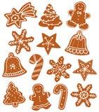 Печенья рождества пряника несколько форм бесплатная иллюстрация