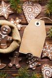 Печенья рождества ярлыка и пряника чистого листа бумаги стоковое изображение rf