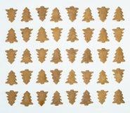 Печенья рождественской елки на белом квадрате предпосылки Стоковые Изображения RF