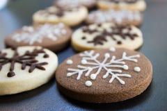 Печенья рождества снежинок Стоковые Изображения