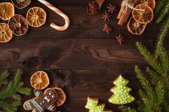 Печенья рождества с праздничный украшением небо klaus santa заморозка рождества карточки мешка свободно Стоковые Фотографии RF
