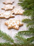 Печенья рождественской елки и звезды Стоковое Фото