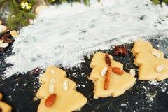 Печенья рождественской елки пряника с мукой Стоковое Изображение RF