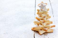 Печенья рождественской елки с замороженностью Стоковое Изображение