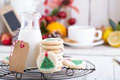 Печенья рождественской елки с молоком Стоковые Фото