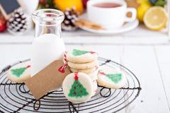 Печенья рождественской елки с молоком Стоковая Фотография RF