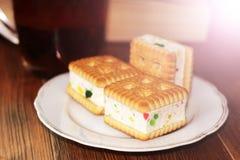 Печенья сандвича с студнем, едой Стоковая Фотография