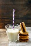 Печенья сандвича арахисового масла шоколада Стиль деревенский Стоковые Изображения RF