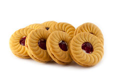 Печенья сандвича клубники Стоковое Изображение