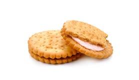 Печенья сандвича на белой предпосылке Стоковая Фотография RF