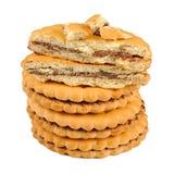Печенья сандвича при завалка шоколада изолированная на белой предпосылке Стоковое Изображение