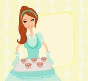 Печенья сервировки домохозяйки Стоковые Фото