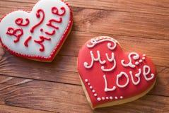 Печенья сердца на день ` s валентинки Стоковое Изображение RF