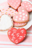 Печенья сердца на пинке Стоковые Фото