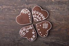 Печенья сердца пряника на день ` s валентинки Стоковое Изображение RF