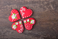 Печенья сердца пряника на день ` s валентинки Стоковое фото RF