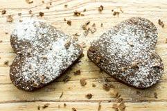 2 печенья сердца шоколада Стоковое Фото