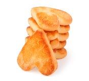 Печенья стога в форме сердца на деревянной доске Стоковые Изображения