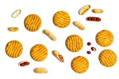Печенья с арахисами на белой предпосылке Стоковое Изображение RF