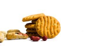 Печенья с арахисами на белой предпосылке Стоковое Изображение