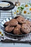 Печенья с какао, белым шоколадом и зажаренными семенами сезама Стоцветы предпосылки Стоковые Изображения RF