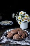 Печенья с какао, белым шоколадом и зажаренными семенами сезама Стоцветы предпосылки темно Стоковые Фото