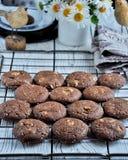 Печенья с какао, белым шоколадом и зажаренными семенами сезама Стоцветы предпосылки Стоковые Фото
