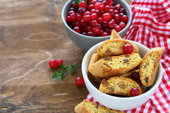 Печенья с клюквами в белом шаре Стоковое фото RF
