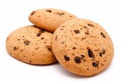 Печенья с падениями шоколада на белизне Стоковое Изображение RF