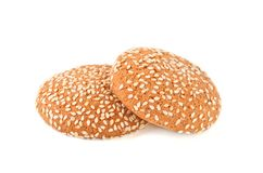 Печенья с сезамом на белой предпосылке Стоковая Фотография