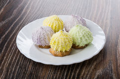 Печенья с хлопьями суфла и кокоса в плите Стоковое Изображение