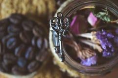 Печенья трав и кофе, милые фото Стоковые Фотографии RF