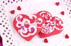 печенья украсили красные valentines Стоковое Изображение