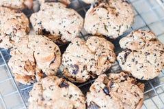 Печенья хлопьев крупного плана охлаждая на шкафе Стоковая Фотография