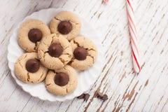 Печенья цветения арахиса тросточки и шоколада конфеты пипермента Стоковое Фото
