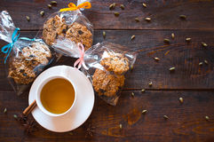 Печенья чашек чаю и рождества Стоковые Фото